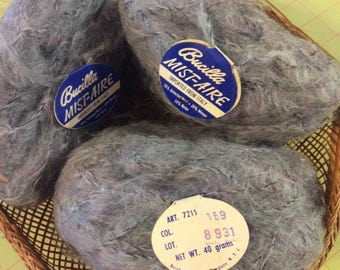 BUCILLA, Mist Aire, 70 Wool, 20 Mohair, 10 Nylon, Imported from Italy, Grey Lavender, Art 7215, Color 159, 40 gram balls