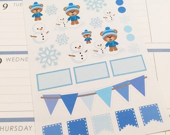 28 Winter Bear Planner Stickers- Winter Themed Stickers- Snowflakes, snowmen and bears- perfect in your Erin Condren planner, wall calendar