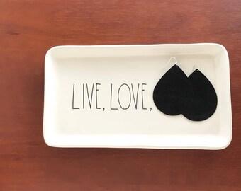 Onyx Black Vegan Leather Earrings | Petey&Co.