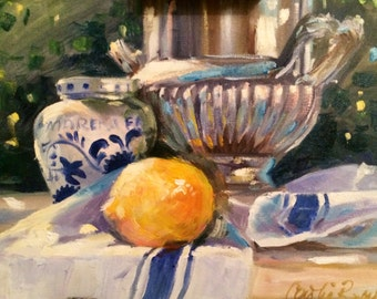 FRENCH LEMONS, Art Print of original oil  painting by CeciliaRosslee,roses, ceramic planter, delft vase,blue tray,yellow lemons,blue tray
