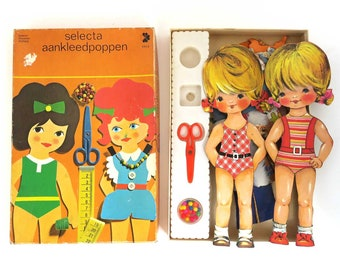 "Vintage Paper Dolls. Selecta Holland, Large Dress up Dolls, 12.5"" Twin Girls with Clothes. Paper Toy Scrapbooking Craft Lot."