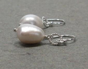 White Pearl Earrings June Birthstone Baroque Pearls Sterling Silver Bride, Wedding Earrings Large Pearls Gift for Her