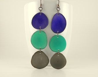 Purple Grape, Robins Egg Blue, and Gray Shoulder Duster Trio of Tagua Nut Eco Earrings with Free USA Shipping #taguanut #ecofriendlyjewelry