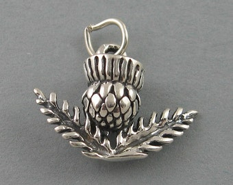 Sterling Silver .925 Charm Pendant 3D SCOTTISH THISTLE Garden 3058