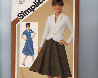 1980s Vintage Sewing Pattern Simplicity 9839 Misses and Petites Flared Skirt Unlined Jacket Suit Size 14 Bust 36 1980 80s UNCUT
