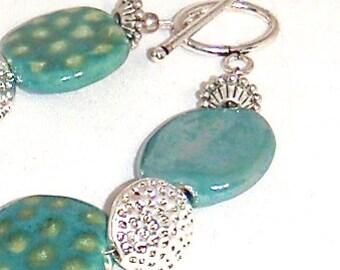 Green Kazuri Fair Trade Ceramic Beads with Silver Toggle Bracelet