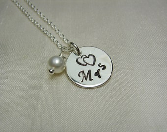 Bridal Necklace Personalized Necklace Birthstone Necklace Bridal Shower Gift Mrs Necklace New Bride Jewelry Just Married Wedding Jewelry