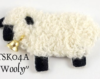 """TSKK04a - """"Wooly"""" Sheep Hand-Embroidered Brooch/Ornament Kit and Pattern"""