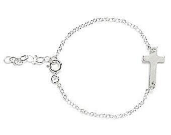 Girls Gold Sideways Cross Bracelet, Baptism Bracelet, First Communion Bracelet, Sideways Cross, Girls Cross Bracelet