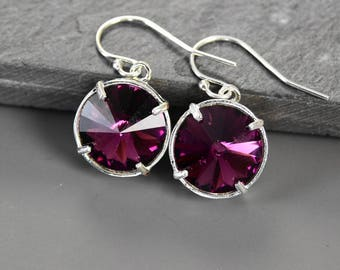 February Birthstone Earrings Silver Purple Crystal Earrings Amethyst February Birthstone Jewelry for Mom Birthday Gift Personalized Jewelry