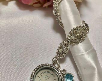 "Silver Round Rhinestone , Wedding Bouquet Charm , ""I Promise To Love You""  Something Blue,Love Charm, Marriage Charm, Husband Charm"