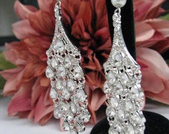 Clear Rhinestone and White Swarovski Pearl, chandelier earrings, wedding earrings, wedding jewelry, crystal earrings, long bridal earrings