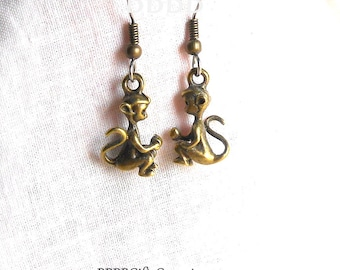 Monkey Earrings Antiqued Bronzed Animal Charms Surgical Steel French Hooks .