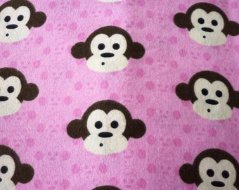 Monkey Faces Fabric  Pink Flannel New By The Yard