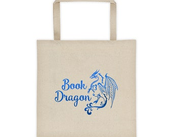 Book Lover Tote Bag - Book Dragon - Reader Gift - Bookworm - Book Bag - Canvas Tote