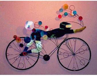 Bicyclist Wall Sculpture