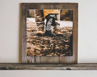 Custom Metal Photo Art Print on Rustic Reclaimed Wooden Frame