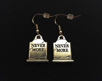 NEVERMORE TOMBSTONE Charm Earrings Stainless Steel Ear Wire Silver Metal Unique Gift