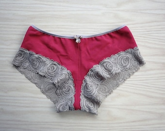 Organic panties, lacy underwear, red boyshorts, for her, holiday fashion, wedding lingerie