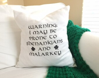 St Patricks Day Pillow Cover - Funny Irish Saying, St Patty's Day Decor, Shamrock Pillow, 18 x 18 Ready to Ship!