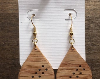 Drop Shaped Earring - Gift for Her - Teardrop Earrings -  Wood Earrings - Wood Dangle Earrings - Carved Wood Drop Earrings - Oak Earring