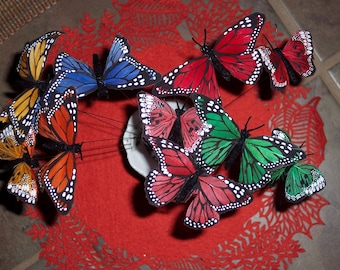 Feather butterfly picks,set of 12,ass't colors,2 butterflies per pick branch,14 inch,craft embellishment,florals
