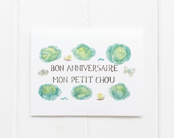 Birthday Cabbages Illustrated Greeting Card