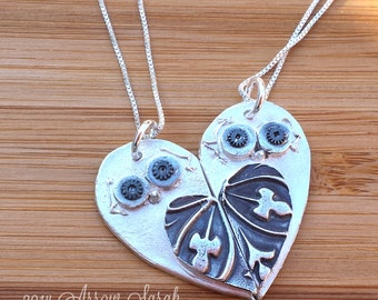 Mother Daughter, Sisters, Best Friends, cousins, maid of honor - owl love heart necklace set
