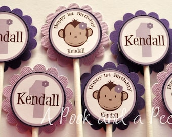 Purple Monkey Cupcake Toppers Custom Personalized for Birthday and Baby Showers Cupcake Picks Set of 12 Lavender
