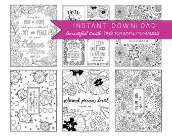 Entire Coloring Collection! 26 Printable Coloring Pages, Inspirational Coloring, Instant Digital Download