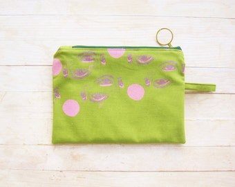 SALE* Cosmetic bag pencils case carry-all make-up zipper pouch screen printed purse wallet eye mask face moon green purple violet pink gift