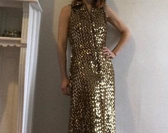 Fabulous Gold Sequin Studio 54 Dress, Size Small