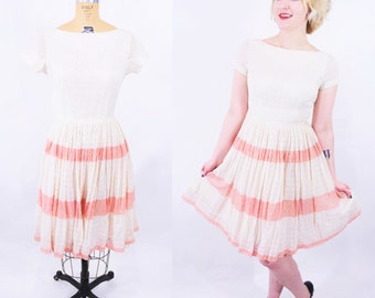 "ANNIVERSARY SALE // 1950s lace dress   cream pink stripe lace darling party dress   vintage 50s dress   W 25"""