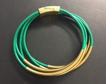 Leather Wrap Bracelet - Green Leather Wrap Bracelet