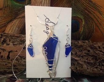 Sea Glass Pendant, Necklace & Earrings Set - Cobalt Blue SeaGlass Necklace - seaglass earrings - seaglass Jewelry - Beach Wedding Jewellery