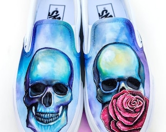 Custom Skull Vans Shoes- Hand Painted Skull and Rose Shoes - Rose and Skull Painting - Custom Rose Vans