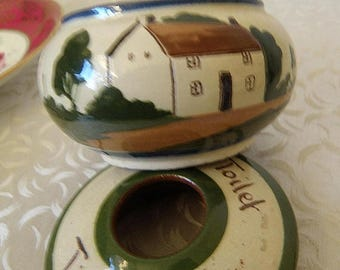 Torquay  Motto Ware HAIR RECEIVER British Pottery with House