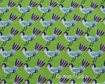 On Sale Hokkoh Tweet Tweet Kawaii Bird Japanese Fabric Apple Green Lightweight Canvas 1/2 Yard