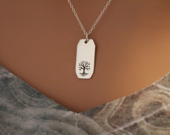 Sterling Silver Etched Tree of Life Rectangle Charm Necklace, Tree of Life Charm Necklace, Tree of Life Pendant Necklace