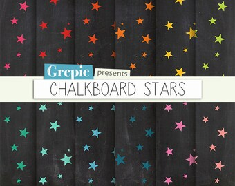 "SALE 50% Chalkboard digital paper: ""CHALKBOARD STARS"" digital paper pack - colorful stars on chalkboard background great for birth"