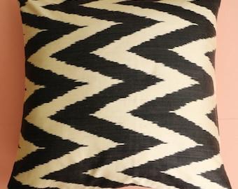Hand-Dyed Black & White Silk Ikat Cushion