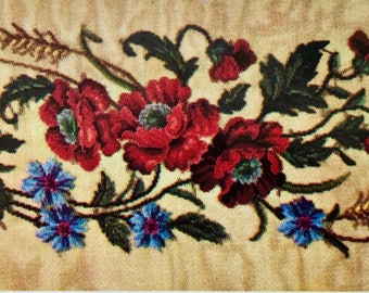 Jean McIntosh Vintage  Needlework Pattern for Needlepoint or Cross Stitch POPPY BENCH Pattern Colorful Elegant Heirloom Quality