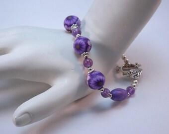 Handmade Purple Millefiori Floral Bracelet, Handmade Polymer Clay