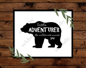 Little Adventurer - Bear Nursery Art - Instant Download - Printable Art - Woodland Nursery Art - 8 x 10 - Bear Nursery Print