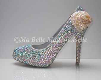 Rose Crystal Wedding Shoe's ( Without Leaves )