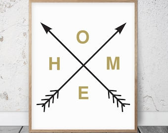 Home Arrow Print, Affiche Scandinave, Home Arrows, Gold Poster, Black Printable Art, Yellow Artwork, Gold Wall Poster, Arrow Home Sign Decor