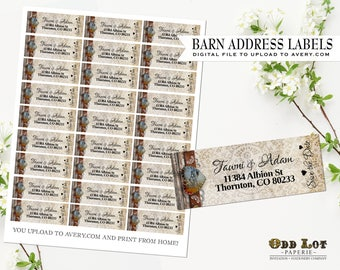 Rustic Vintage Barn Address Labels DIY Avery Labels for Printing Yourself Country Rustic Wedding Printable Address Labels Digital File