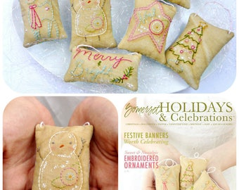 Christmas Ornaments embroidery Pattern - PDF Shabby chic stitchery deer snowman primitive retro ornies bowl fillers gift tag