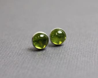 Vesuvianite Stud Earrings, Green Stud Earrings, 6mm Gemstone Earrings, Vesuvianite Earrings, Green Earrings, Bezel Set in Sterling Silver