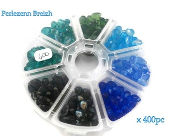 Box set of 400 glass beads drop 5x9mm blue green shades